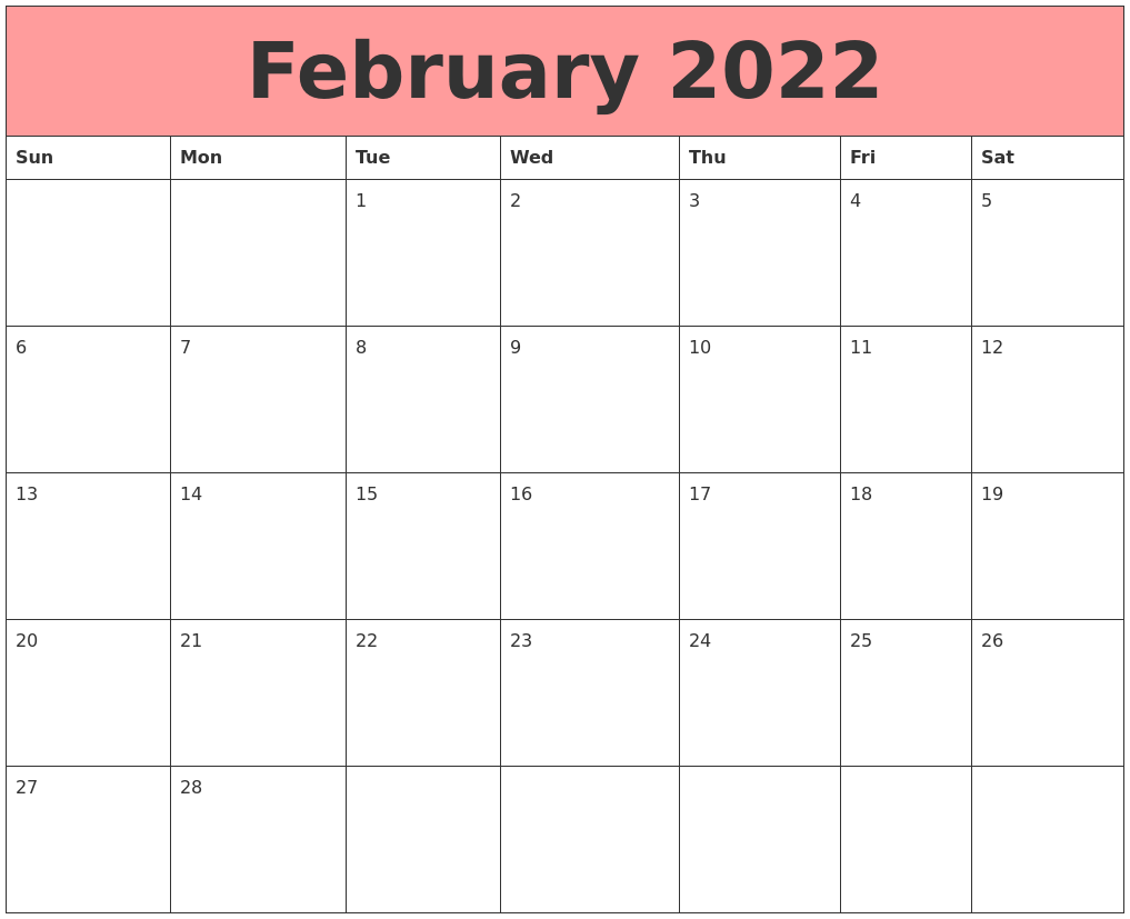 Calendar Feb 2022 Printable.February 2022 Calendars That Work