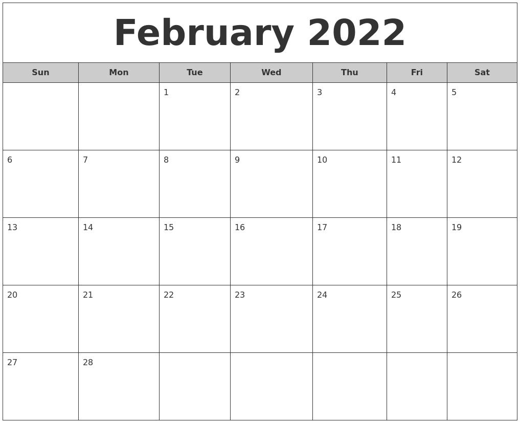 February 2022 Free Monthly Calendar