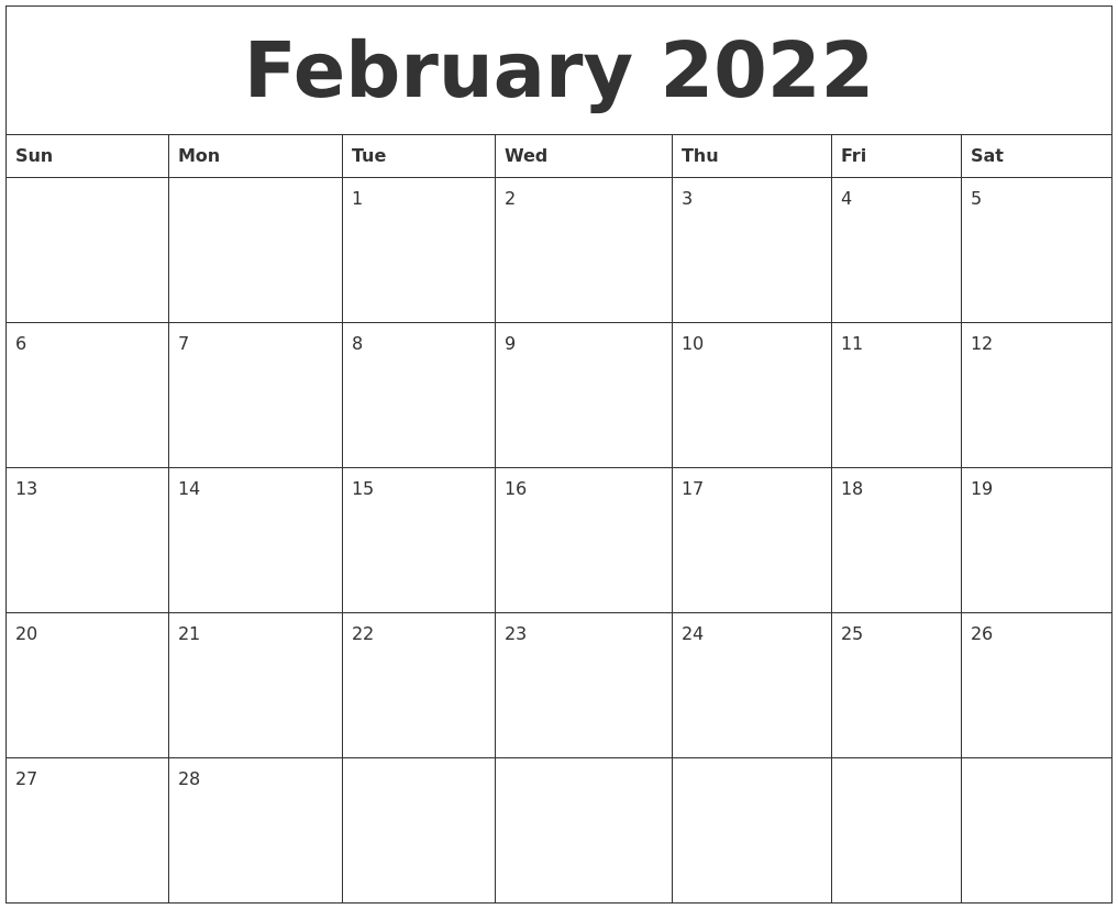 February 2022 Free Printable Monthly Calendar