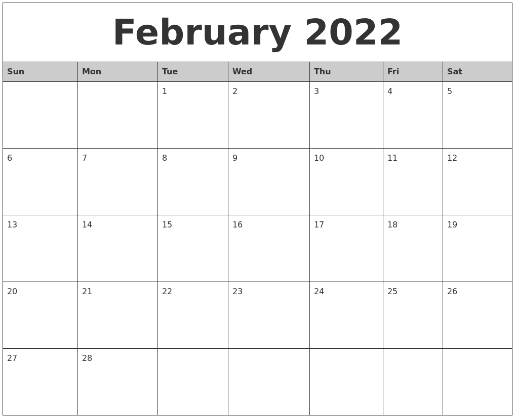 February 2022 Monthly Calendar Printable