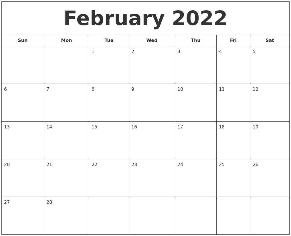 Calendar Feb 2022 Printable.February 2022 Printable Calendar
