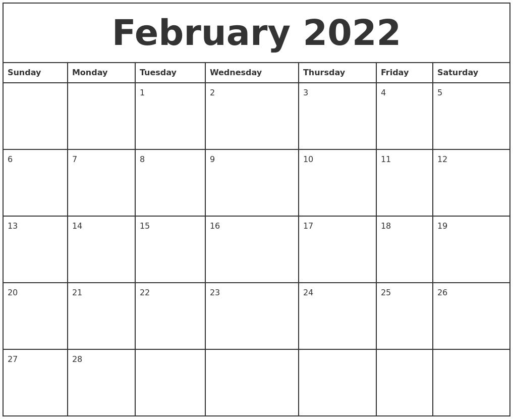 February 2022 Printable Monthly Calendar PDF's
