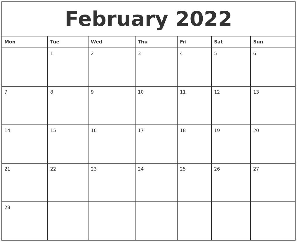 Monthly Calendar Monday Start : February printable monthly calendar