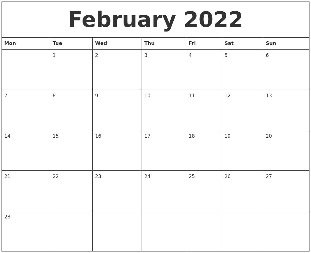 Calendar 2022 Word.February 2022 Word Calendar