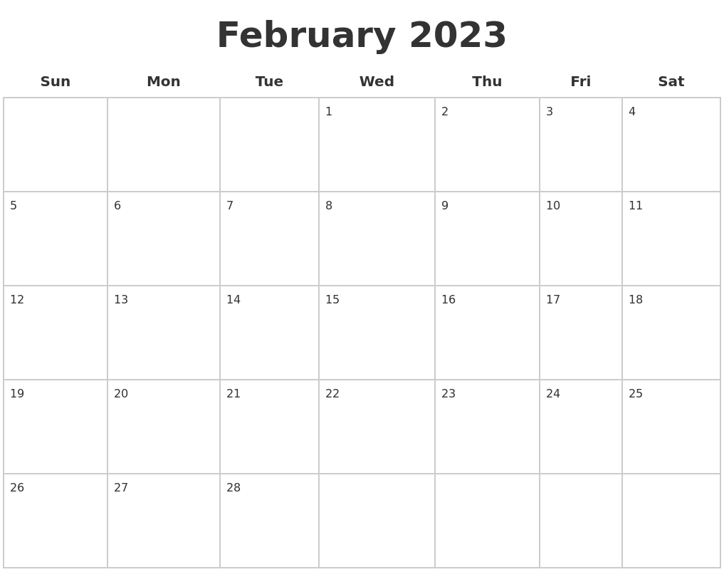February 2023 Blank Calendar Pages