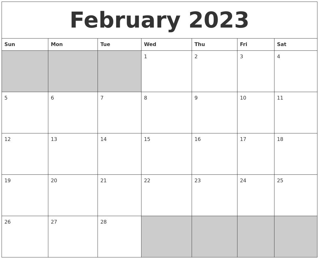 February 2023 Blank Printable Calendar