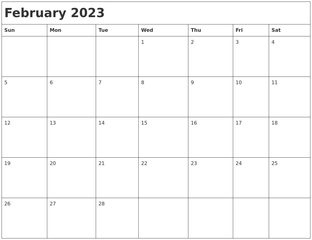 February 2023 Month Calendar