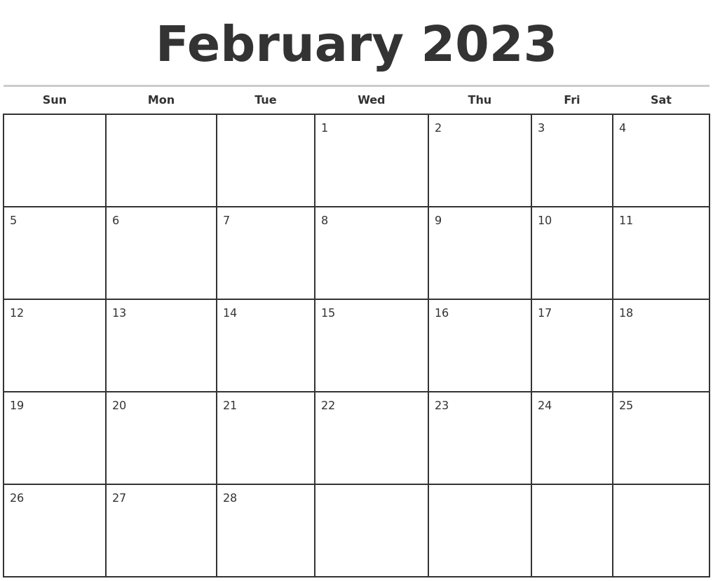 February 2023 Monthly Calendar Template