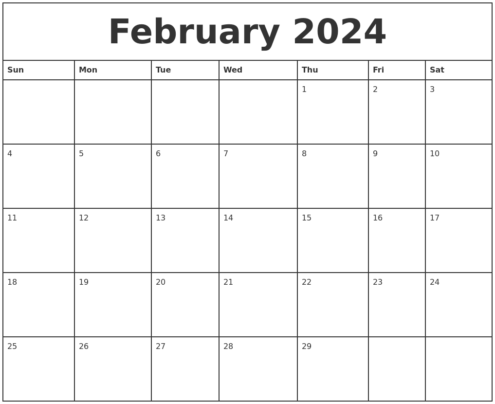 February 2024 Printable Monthly Calendar