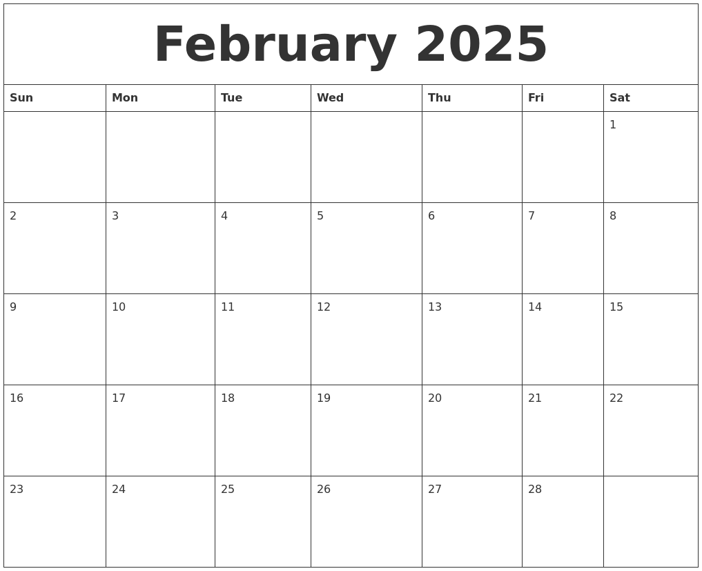 February 2025 Calendar For Printing