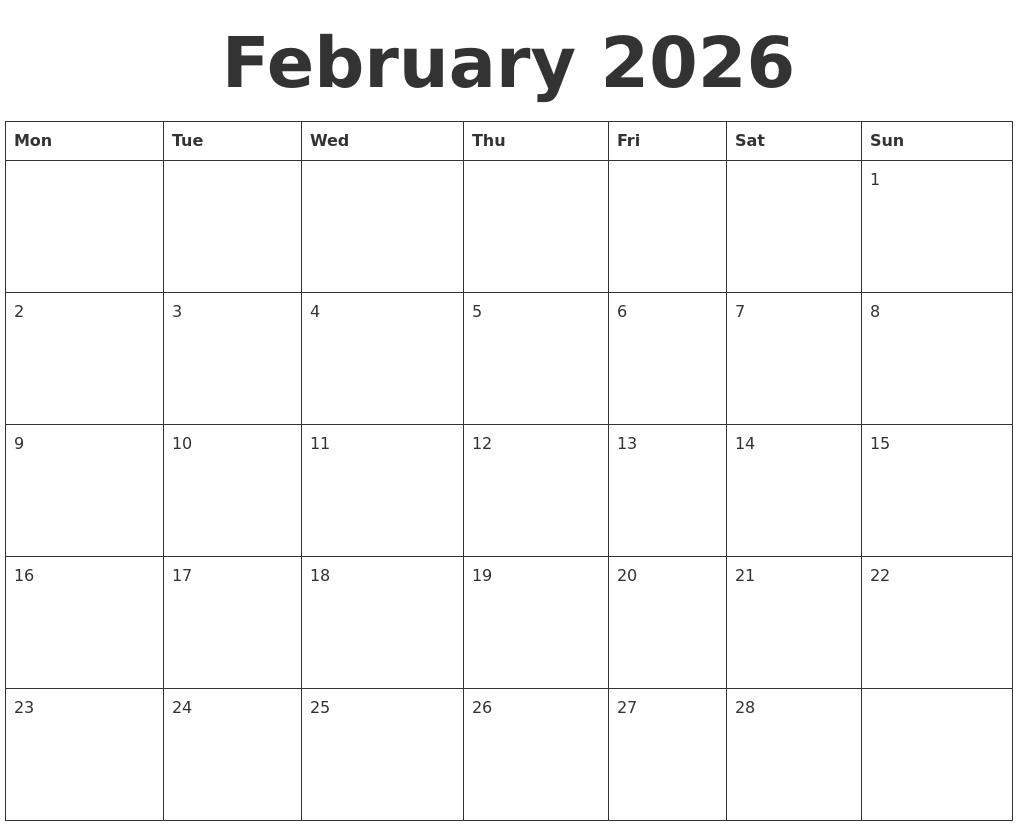 February 2026 Blank Calendar Template