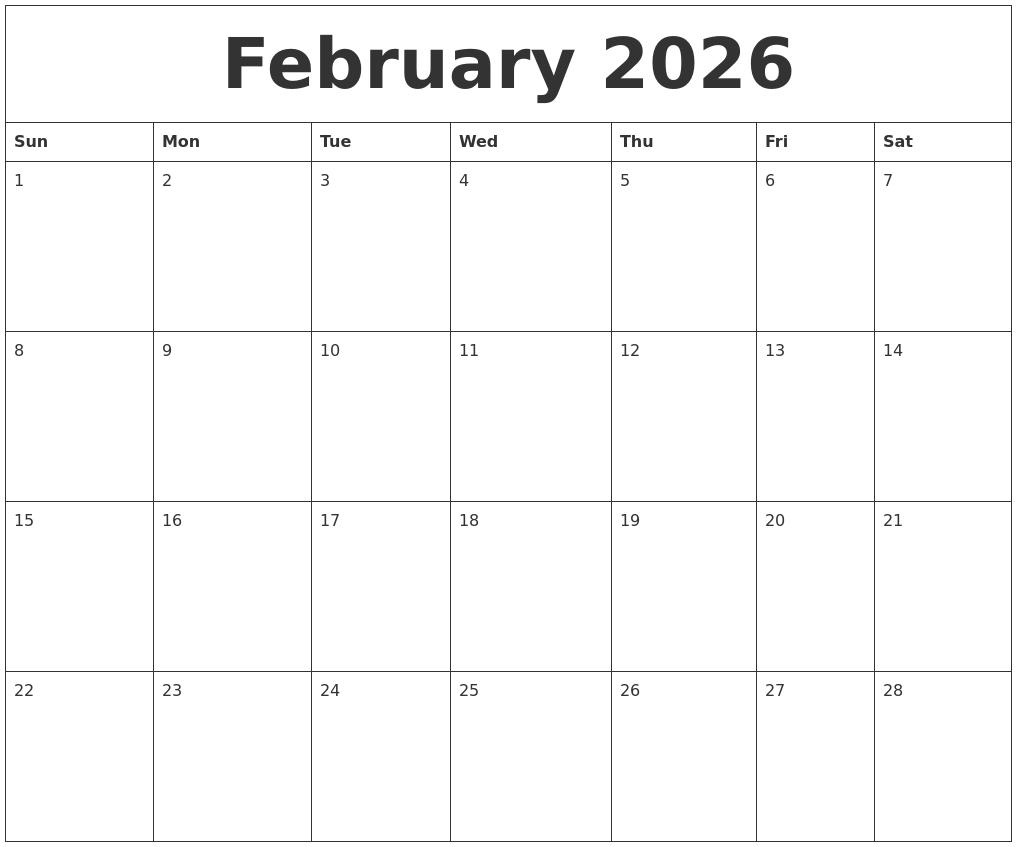 February 2026 Free Blank Calendar Template