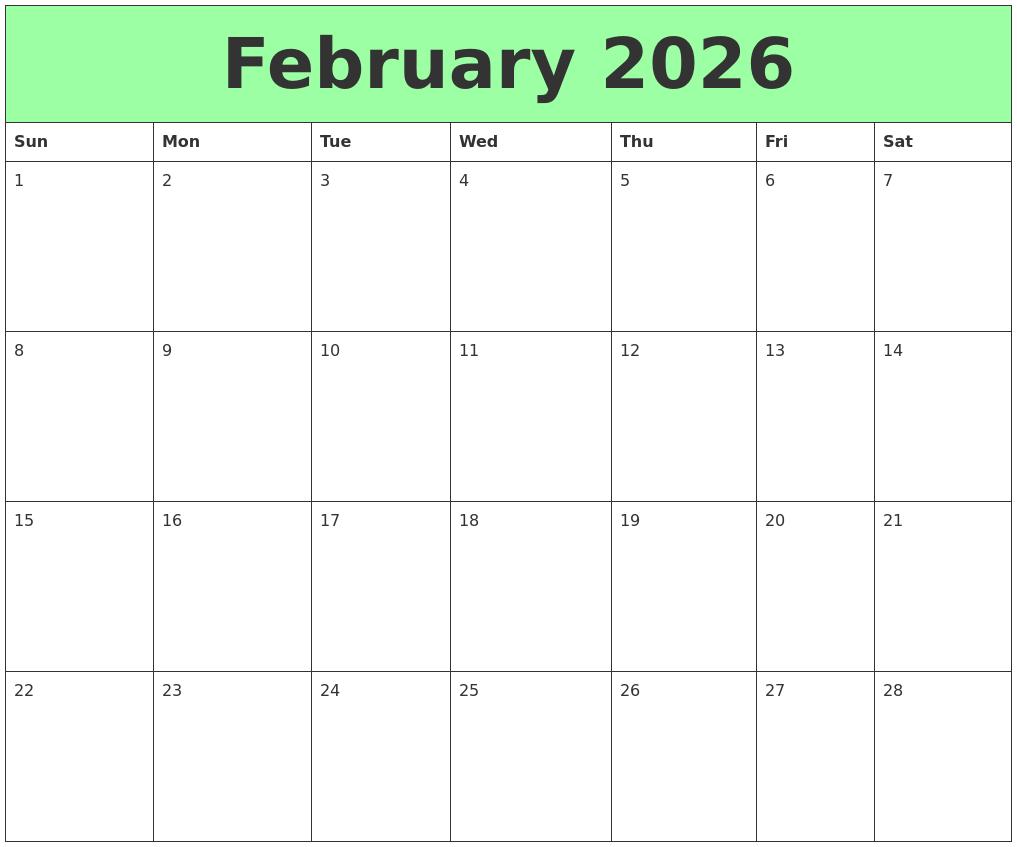 August 2026 Blank Calendar Template