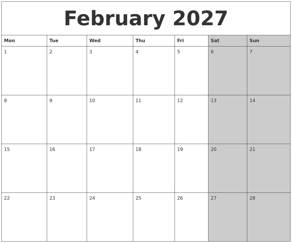 february 2027 calanders