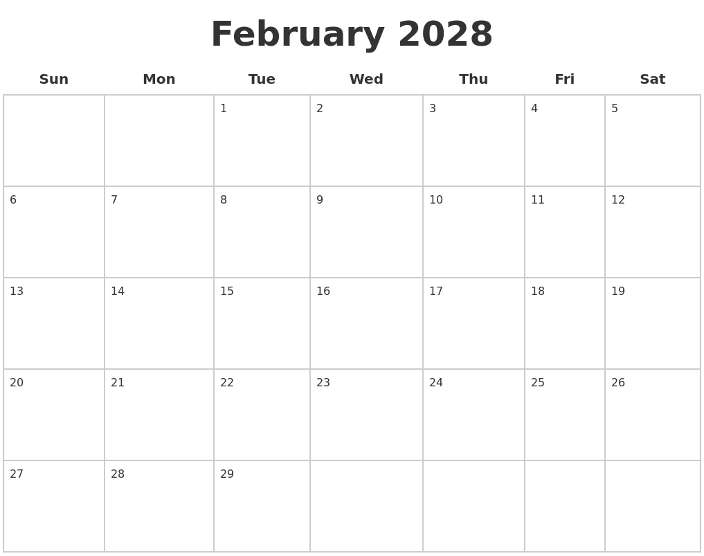 February 2028 Blank Calendar Pages