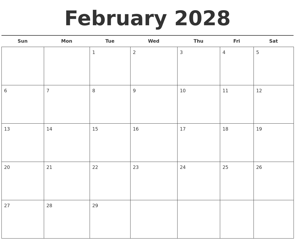 March 2028 Blank Monthly Calendar