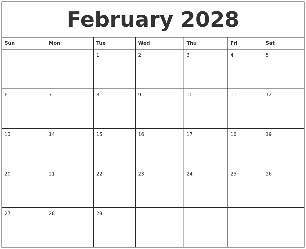 February 2028 Printable Monthly Calendar