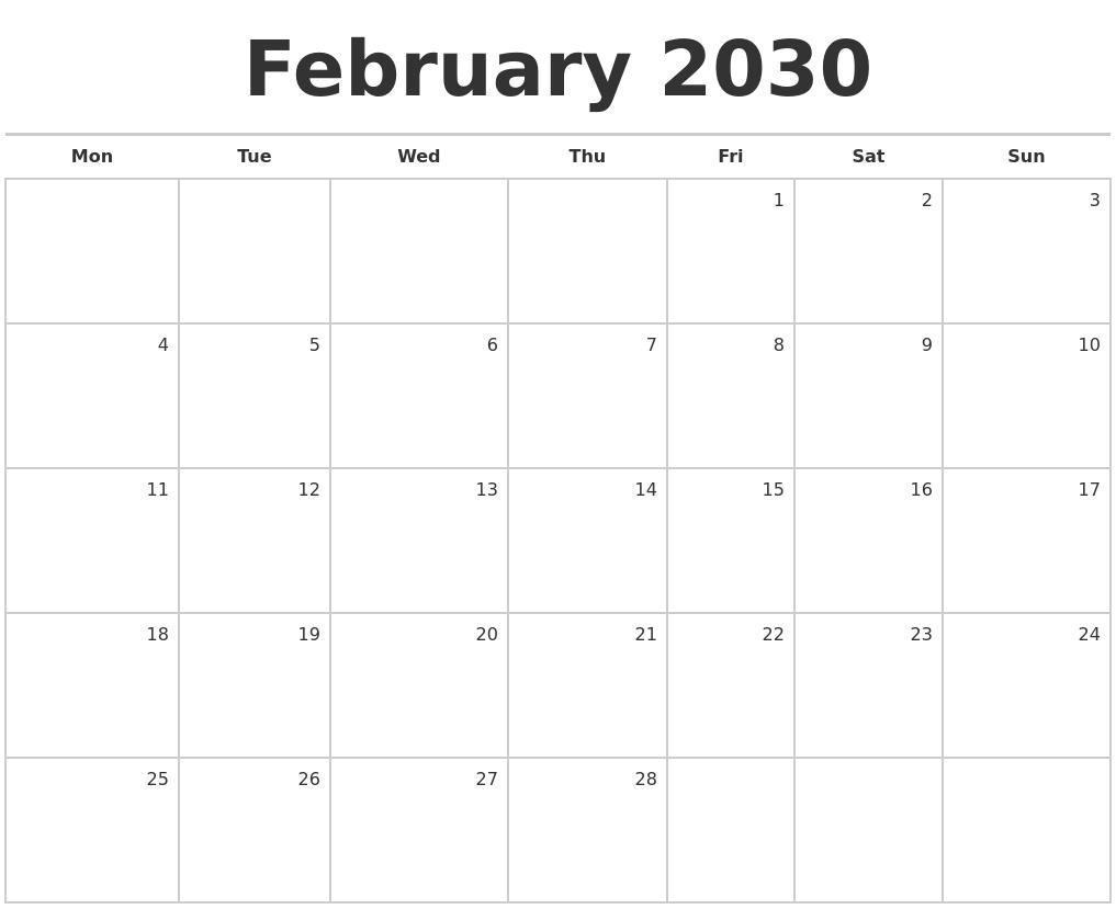 February 2030 Blank Monthly Calendar