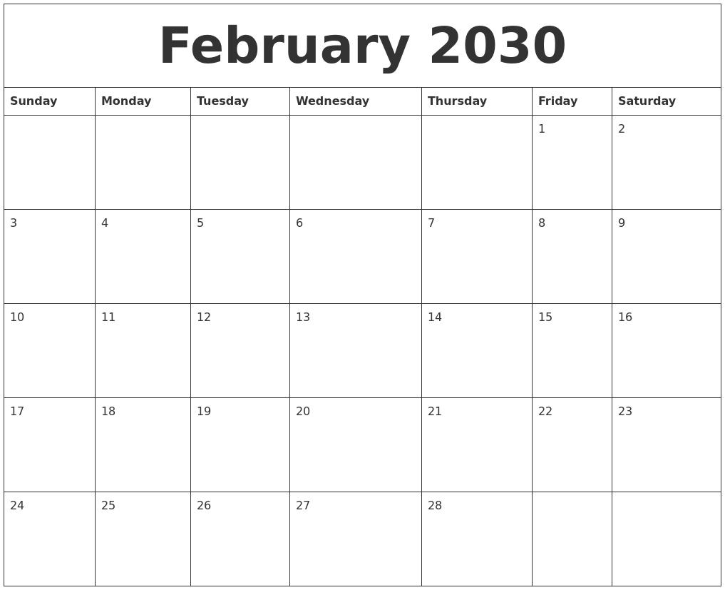 February 2030 Blank Monthly Calendar Template