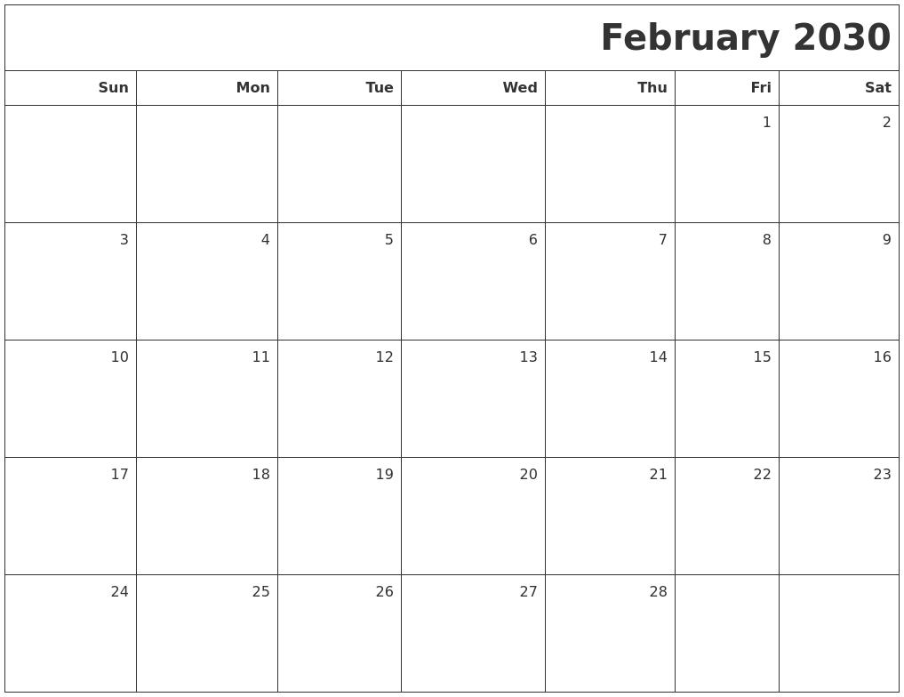 April 2030 Word Calendar