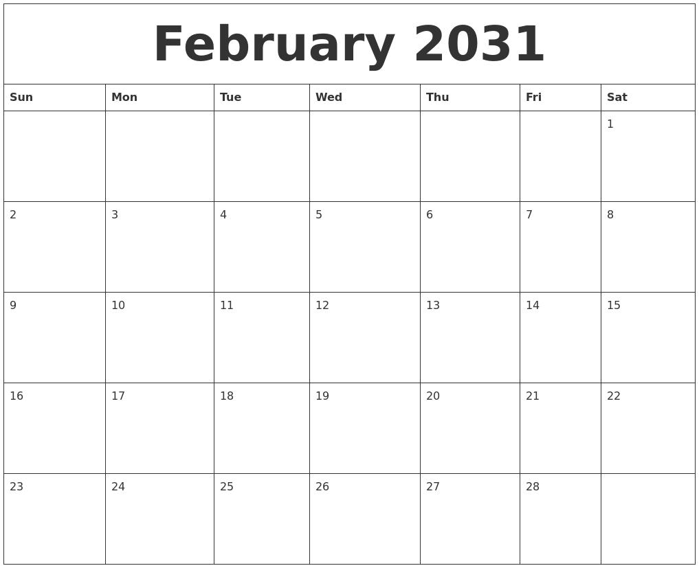 Blank Calendar 2018 February