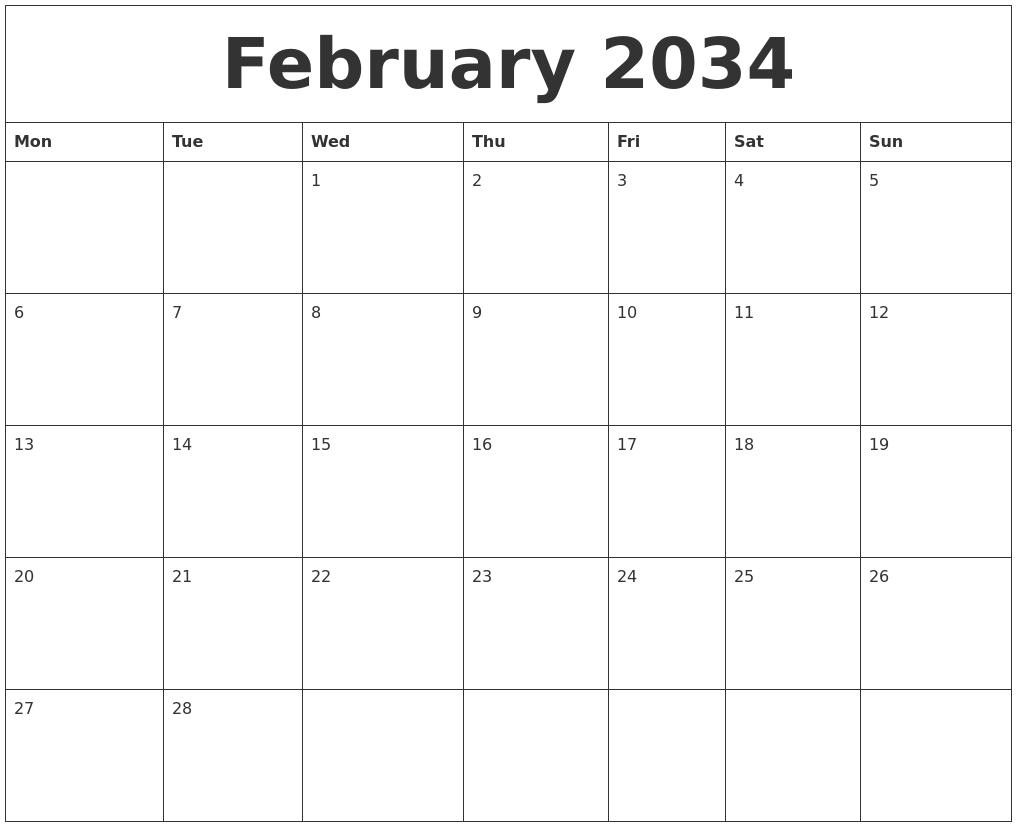 February 2034 Calendar Month