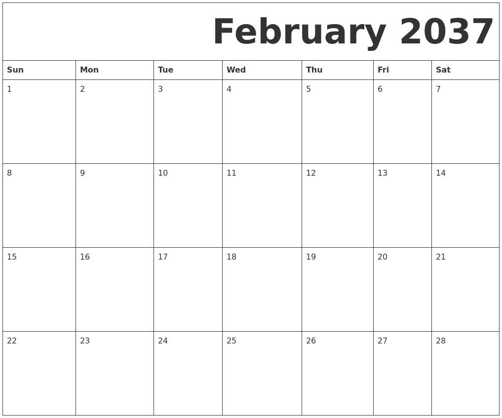 January 2037 Calendar Template