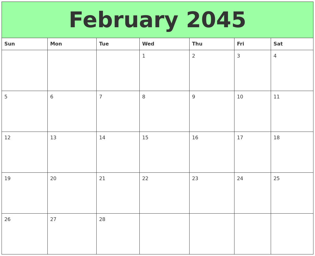 graphic relating to Printable February Calendar known as February 2045 Printable Calendars