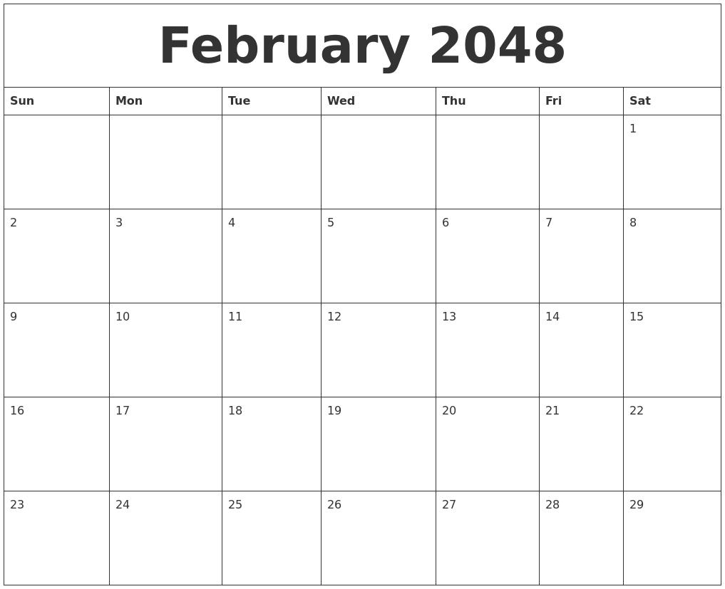 February 2048 month calendar template maxwellsz