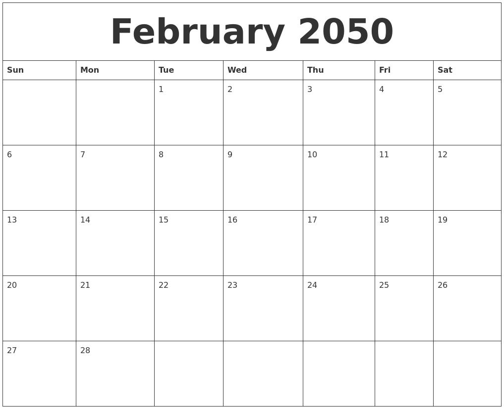 February 2050 Birthday Calendar Template