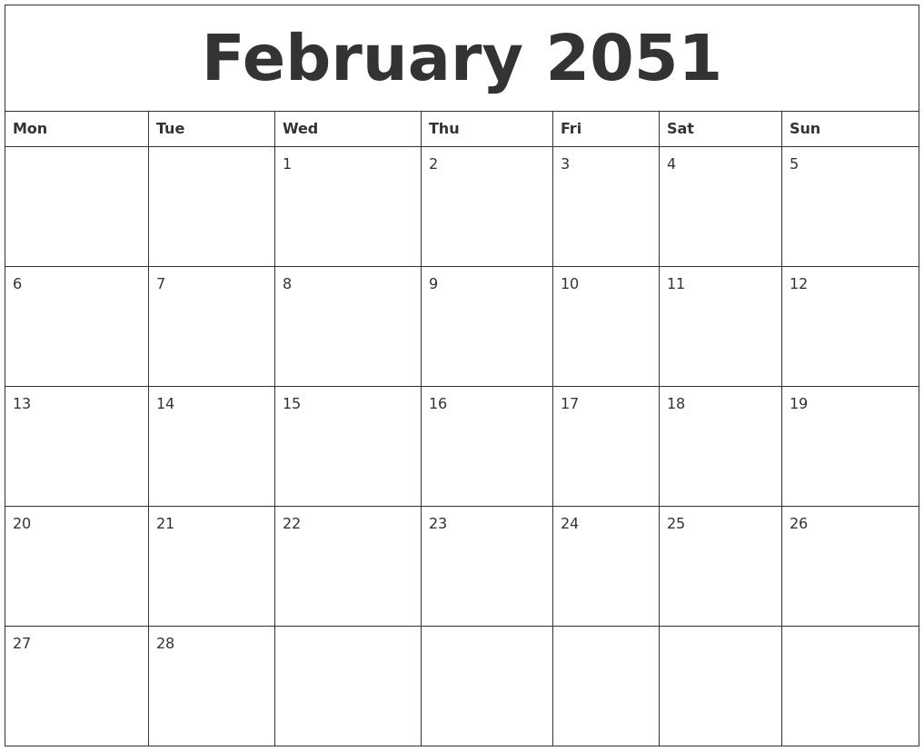 February 2051 Calendar Printable Free