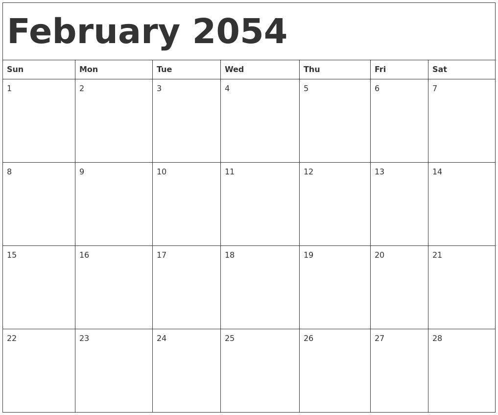 February 2054 Calendar Template
