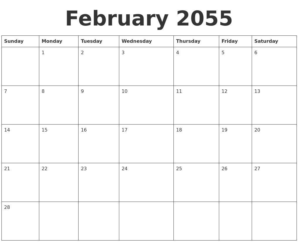 February 2055 Blank Calendar Template
