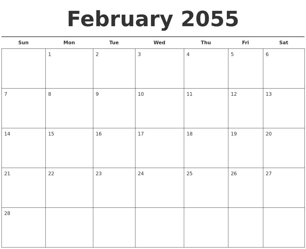 January 2055 Calendar Printable
