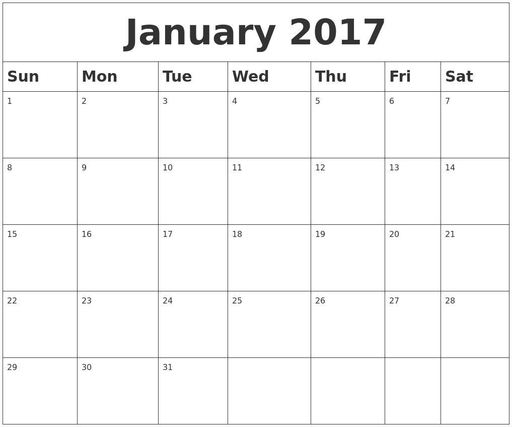 Weekly Calendar January : January blank calendar