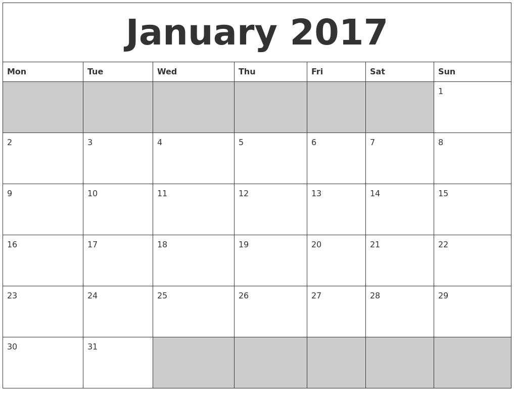 January 2017 Blank Printable Calendar PDF's