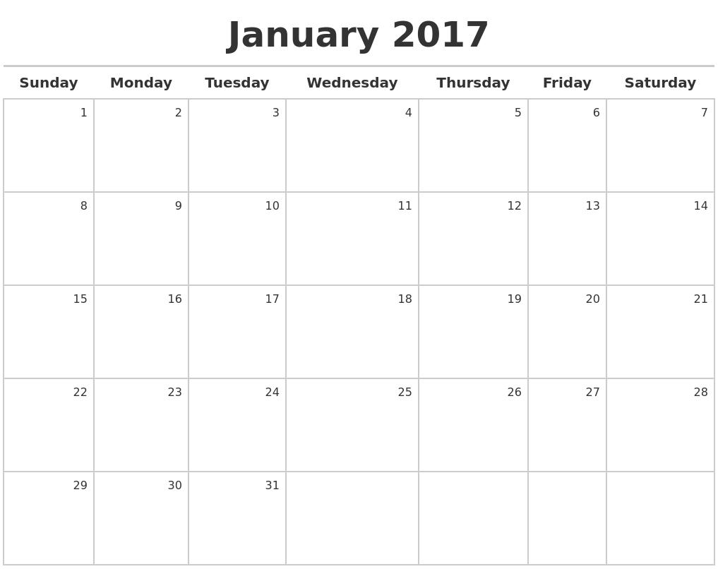 January 2017 Calendar Maker PDF's
