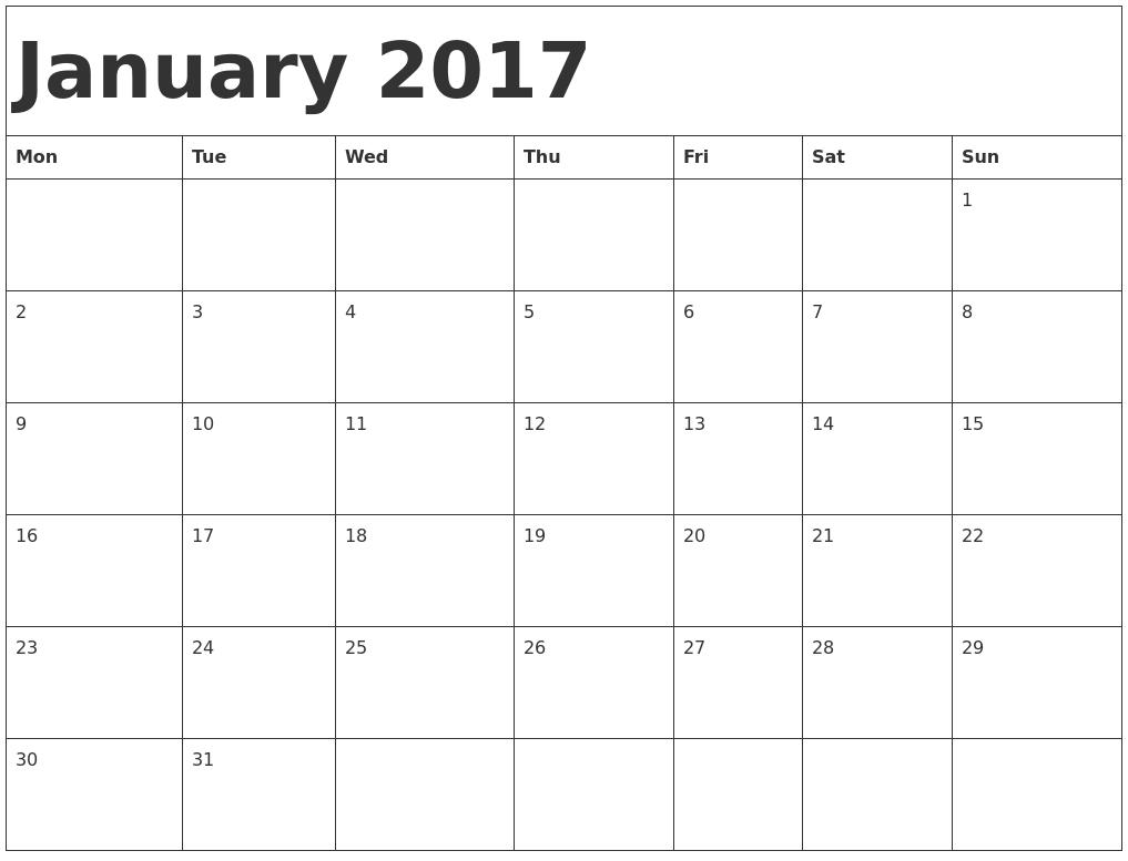 January 2017 Calendar Template PDF's