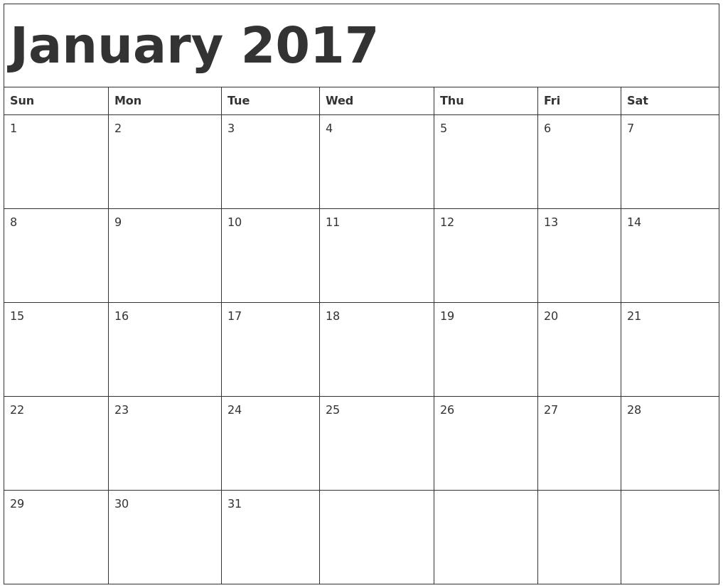 calendar template 2017 monthly