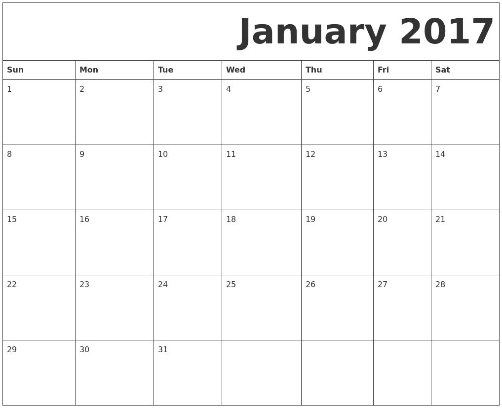 January 2017 Free Printable Calendar