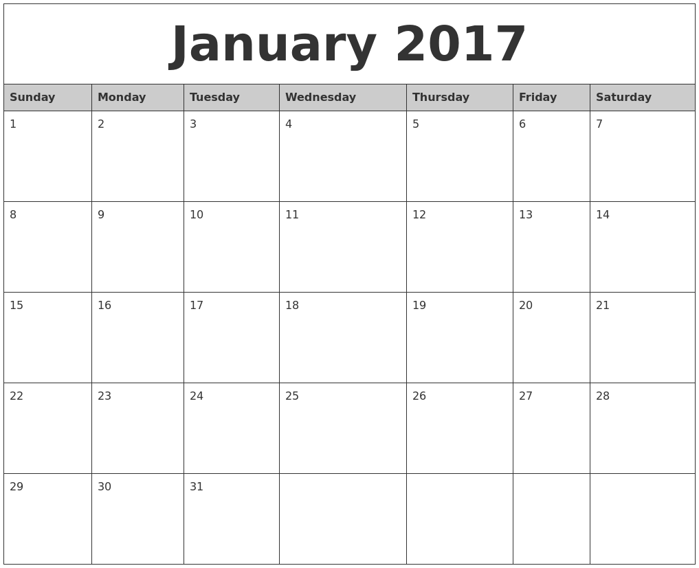 Printable Monthly Calendar January : January monthly calendar printable