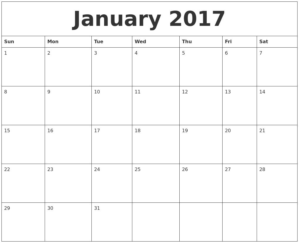 February 2017 Print Blank Calendar