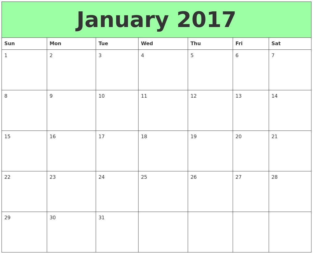 January 2017 Calendar january – 2017 – calendar – …