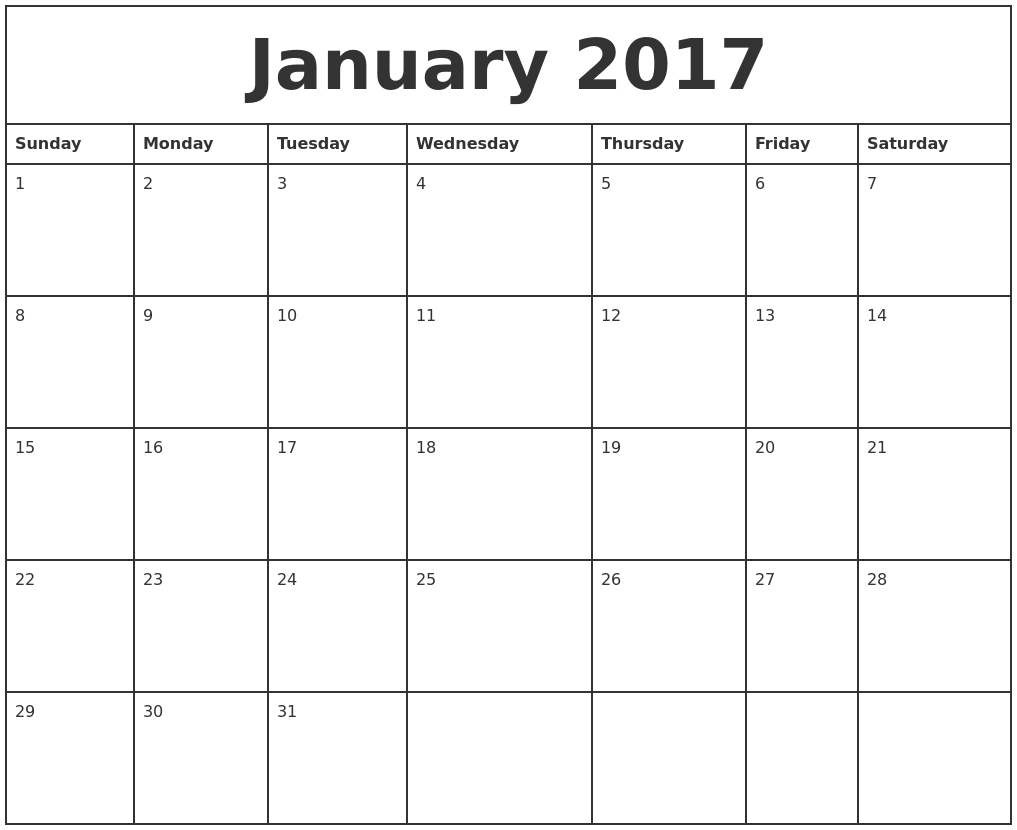 Printable Monthly Calendar January : January printable monthly calendar