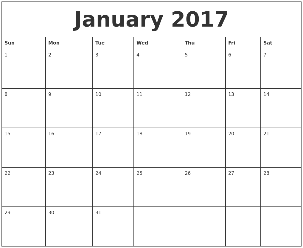 Calendar 2016 January Printable | Calendar Template 2016