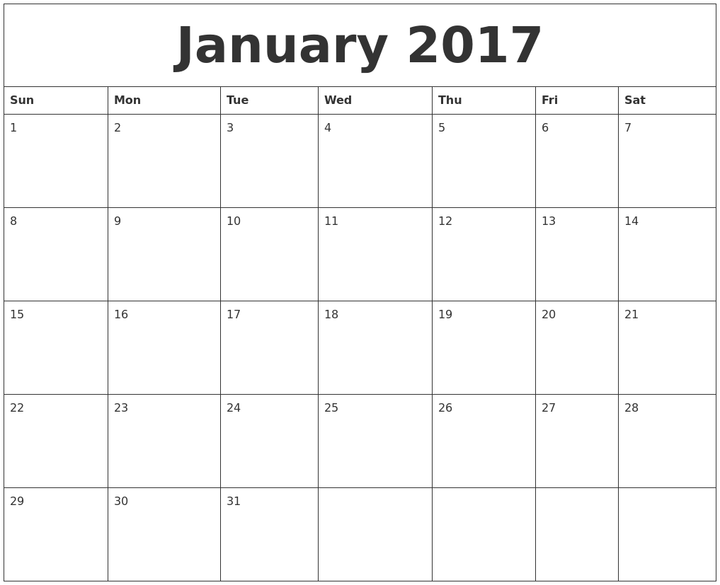 Free Online Calendars 2017 | Calendar 2017
