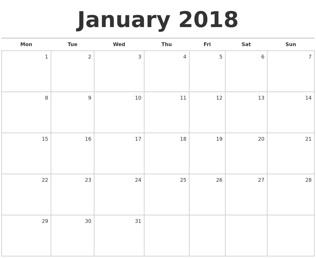Weekly Calendar January : January blank monthly calendar