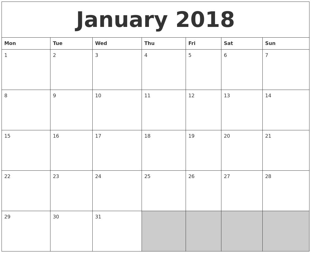 2018 Blank Printable Calendar – Blank Printable Calendar