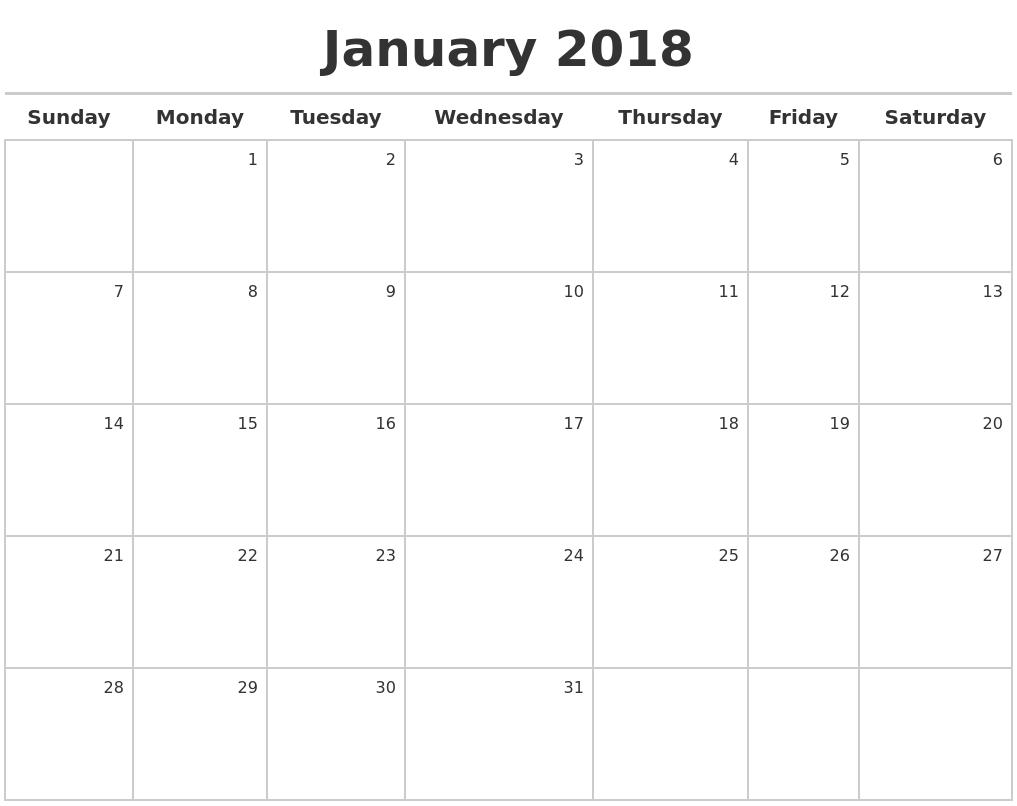 january 2018 calendar pic