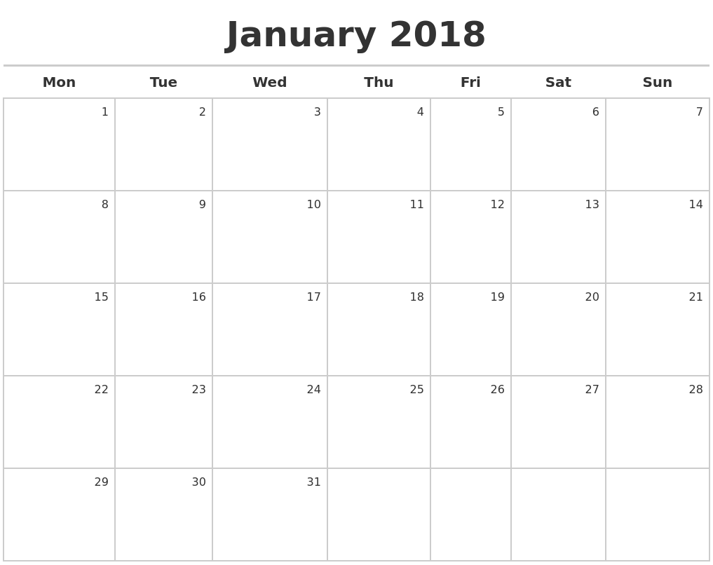 2018 Calendar Maker